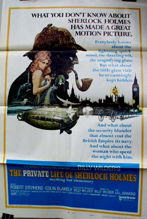 Pictured is a US promotional poster for the 1971 Billy Wilder film The Private Life of Sherlock Holmes, starring Robert Stephens as Sherlock Holmes.