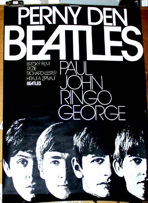 Pictured is Czech promotional poster for a 1984 rerelease of the 1964 Richard Lester film A Hard Days Night, starring the Beatles.
