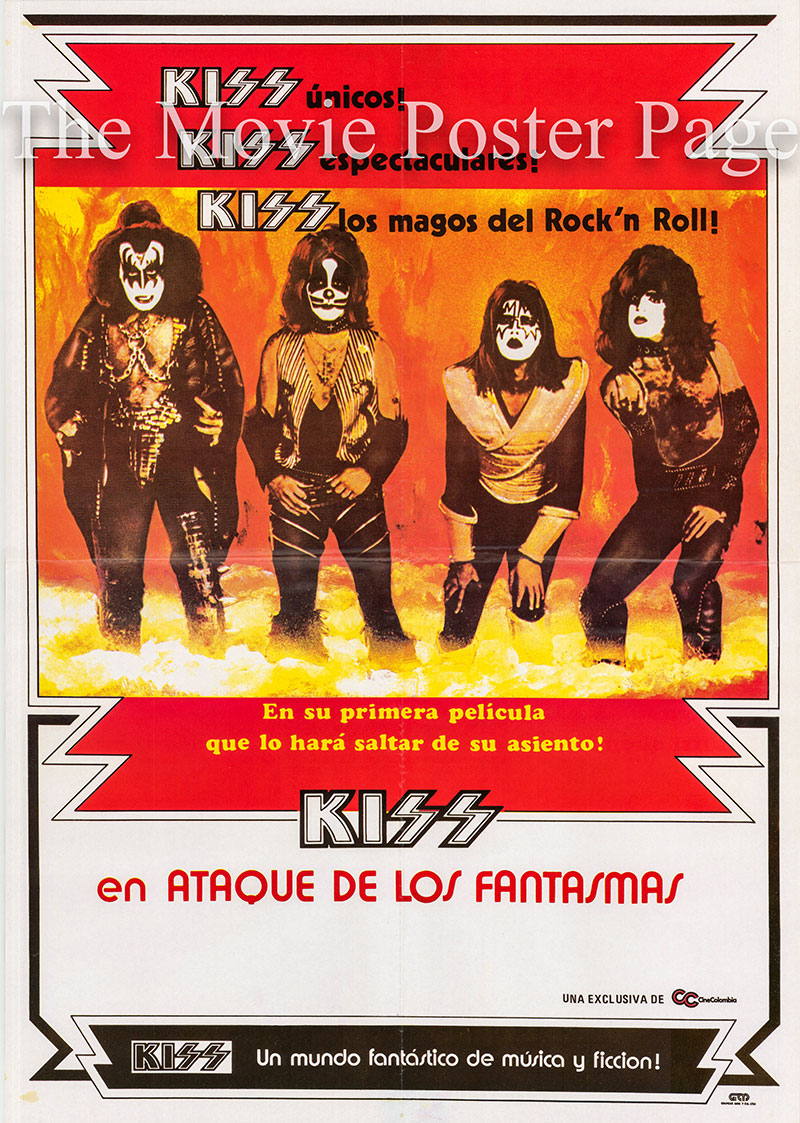 Pictured is a Spanish promotional poster for the 1978 gordon Hessler film KISS Meets the Phantom of the Park starring Peter Cris.