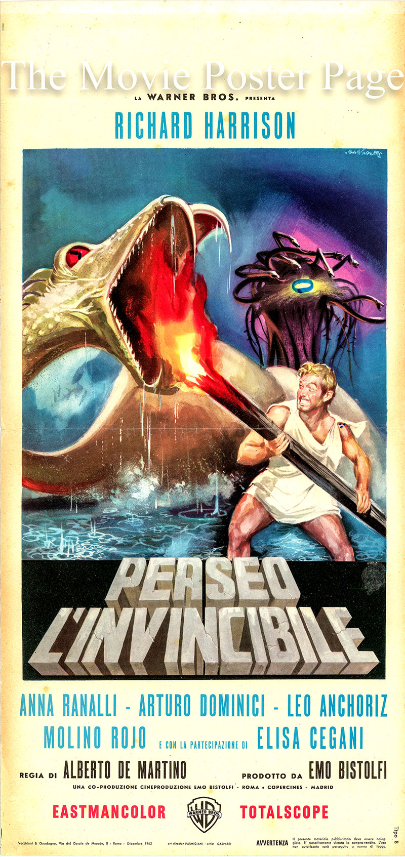 This is an Italian locandina poster for the 1963 Alberto De Martini film Perseus the Invincible starring Richard Harrison as Perseus.