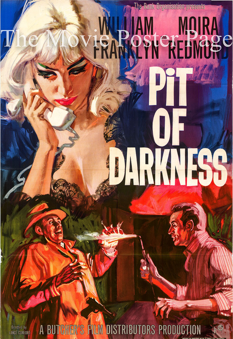 Pictured is a UK one-sheet for the 1961 Lance Comfort film Pit of Darkness starring William Franklyn as Richard Logan.