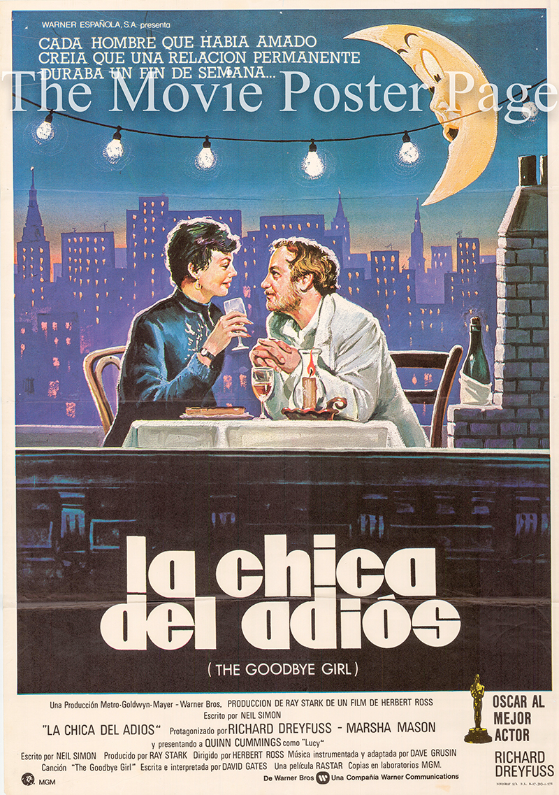 This is a Spanish one-sheet poster for a 1978 rerelease of the 1977 Herbert Ross film The Goodbye Girl starring Richard Dreyfus.
