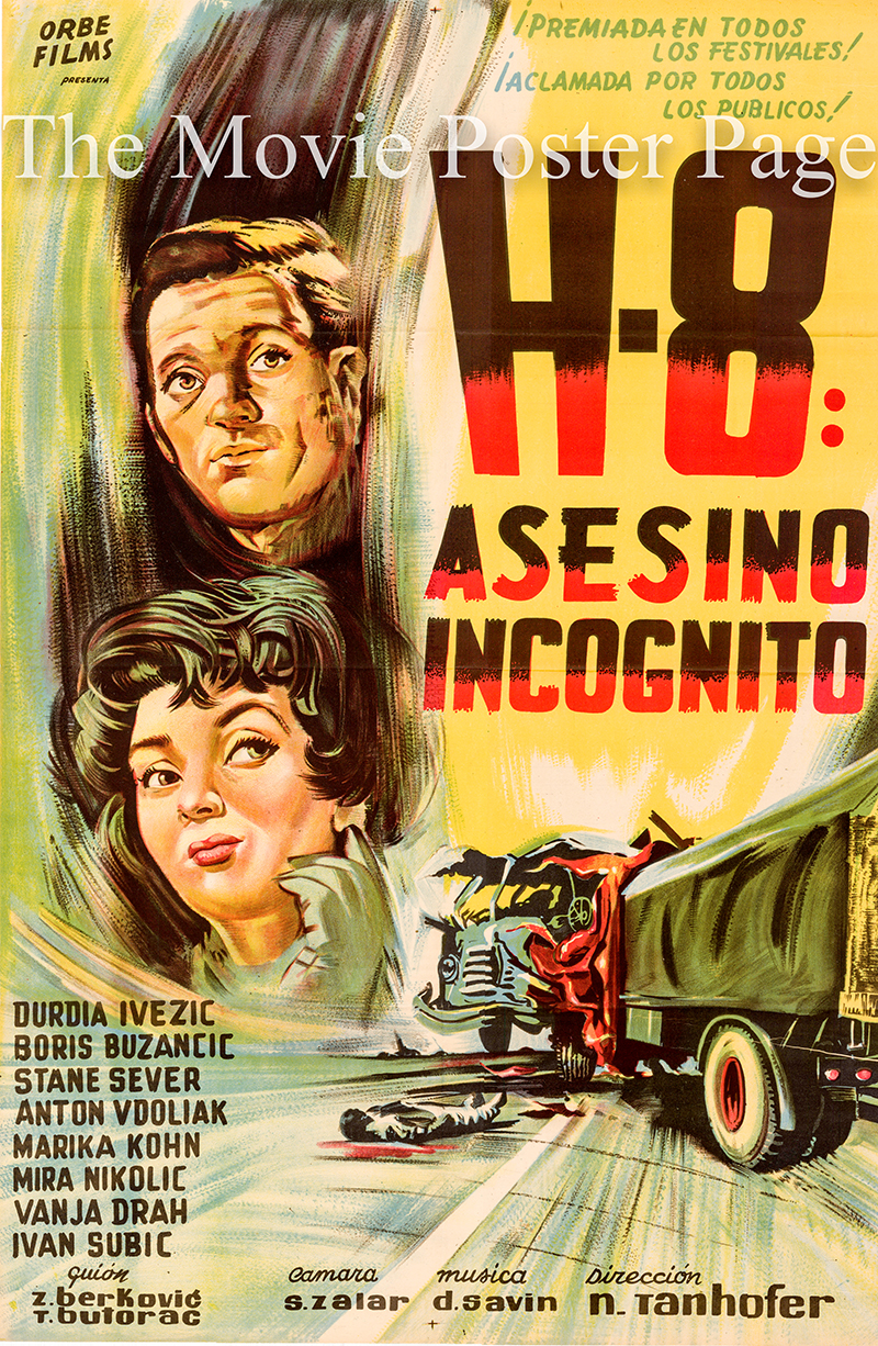 Pictured is an Argentine promotional poster for the 1958 Nikola Tanhofer film H-8 starring Boris Buzancic as Journalist Boris.