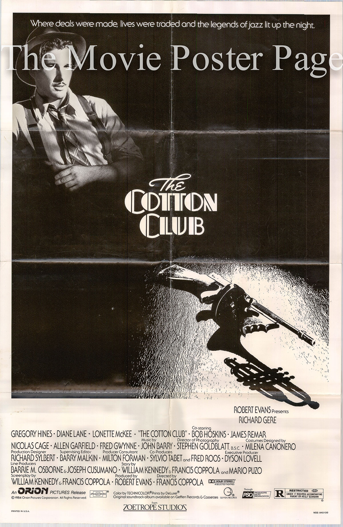 Pictured is a US one-sheet poster for the 1984 Francis Ford Coppola film The Cotton Club starring Richard Gere as Dixie Dwyer.