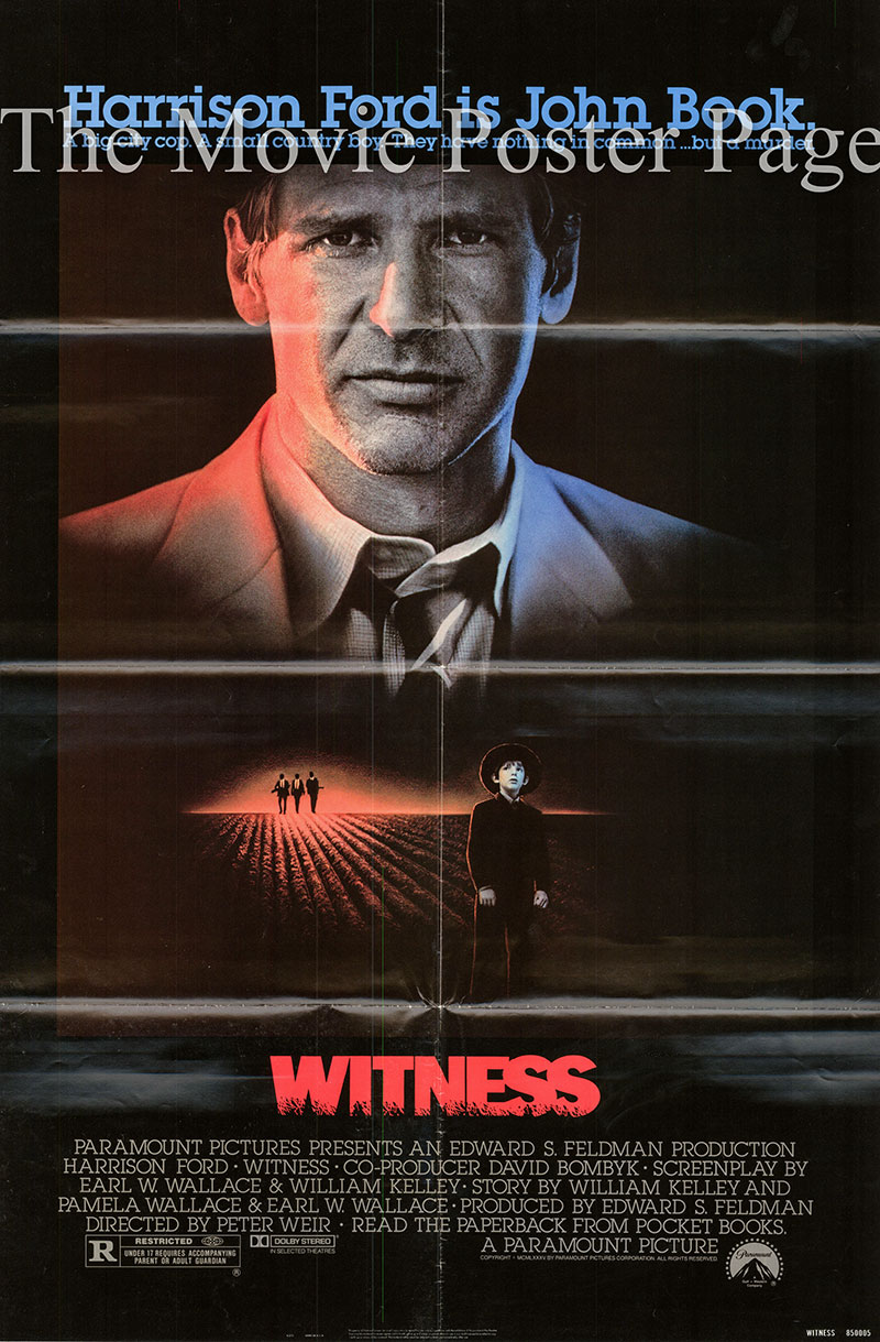 Pictured is a US promotional poster for the 1984 Peter Weir film Witness starring Harrison Ford as John Book.