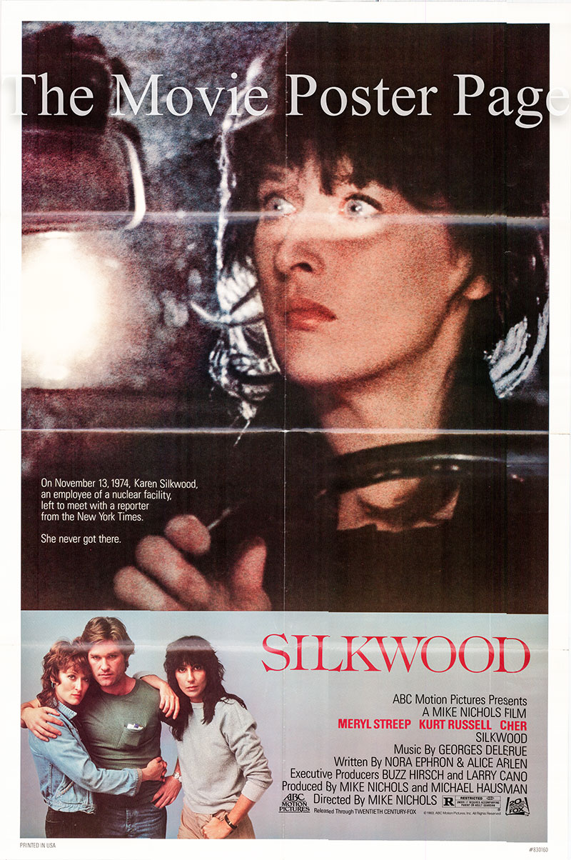 Pictured is a US one-sheet poster for the 1983 Mike Nichols film Silkwood starring Meryl Streep as Karen Silkwood.