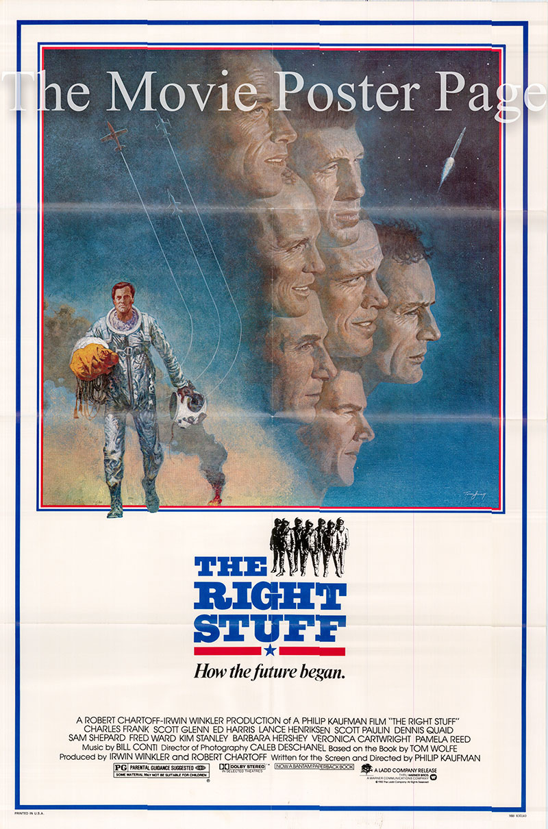 Pictured is a US one-sheet poster for the 1983 Philip Kaufman film The Right Stuff starring Sam Shepard as Chuck Yeager.