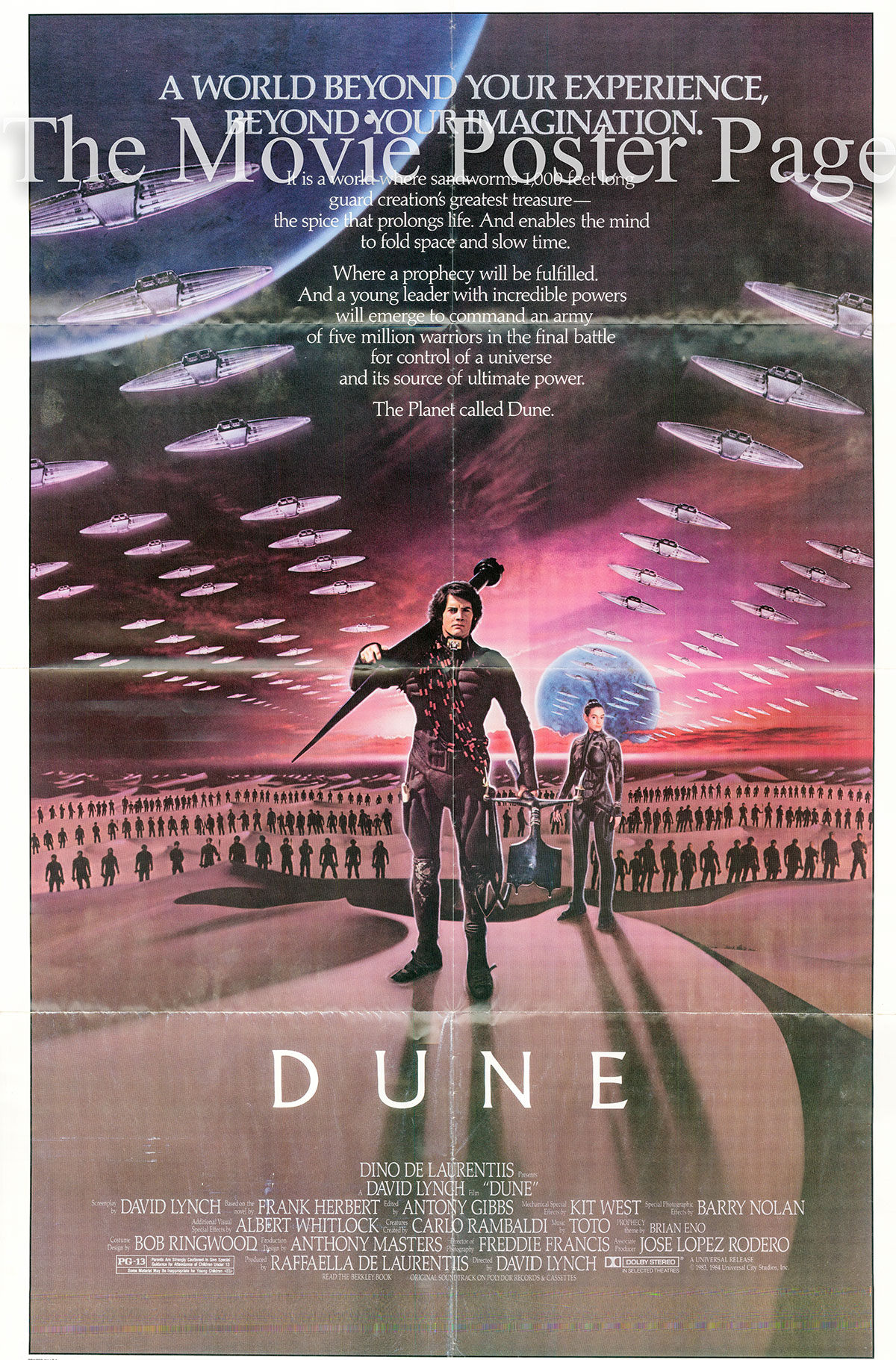 Pictured is a US one-sheet poster for the 1984 David Lynch film Dune starring Sting as Feyd Rautha.