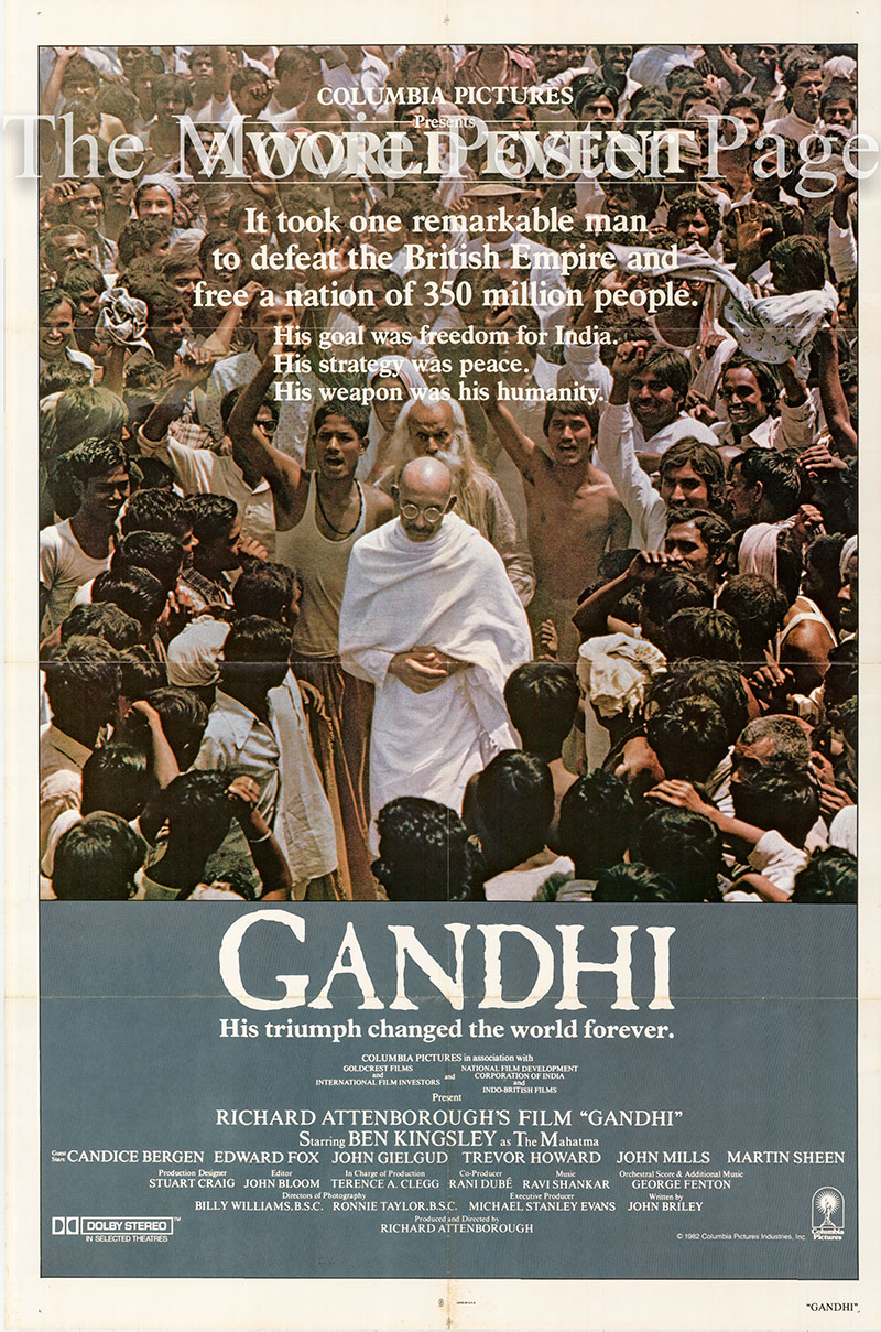 Pictured is a US one-sheet poster for the 1982 Richard Attenborough film Gandhi starring Ben Kingsley as Gandhi.