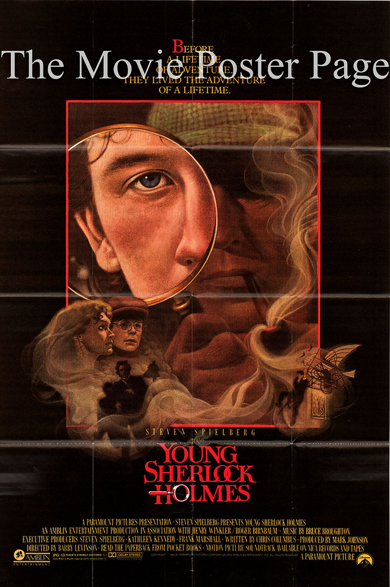 Pictured is a US one-sheet poster for the 1985 Barry Levinson film Young Sherlock Holmes starring Nicholas Rowe as Sherlock Holmes.
