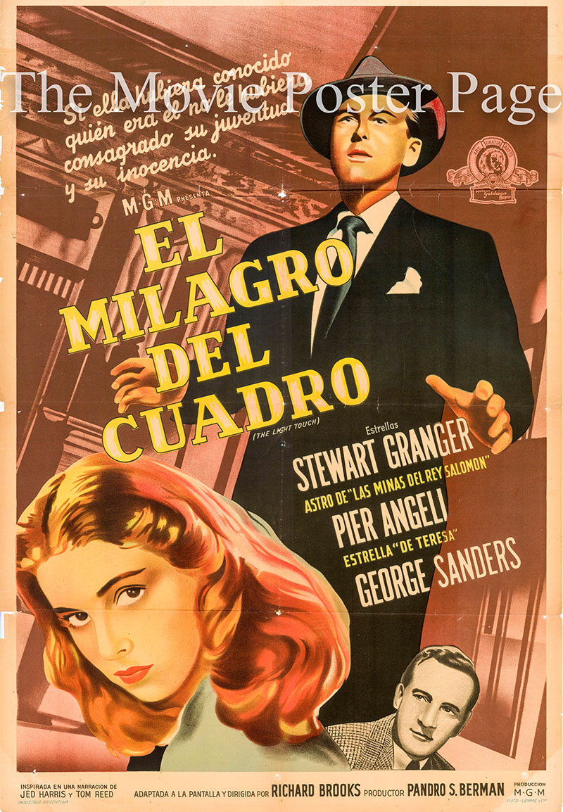 Pictured is an Argentine one-sheet poster for the 1951 Richard Brooks film The Light Touch starring Stewart Granger.