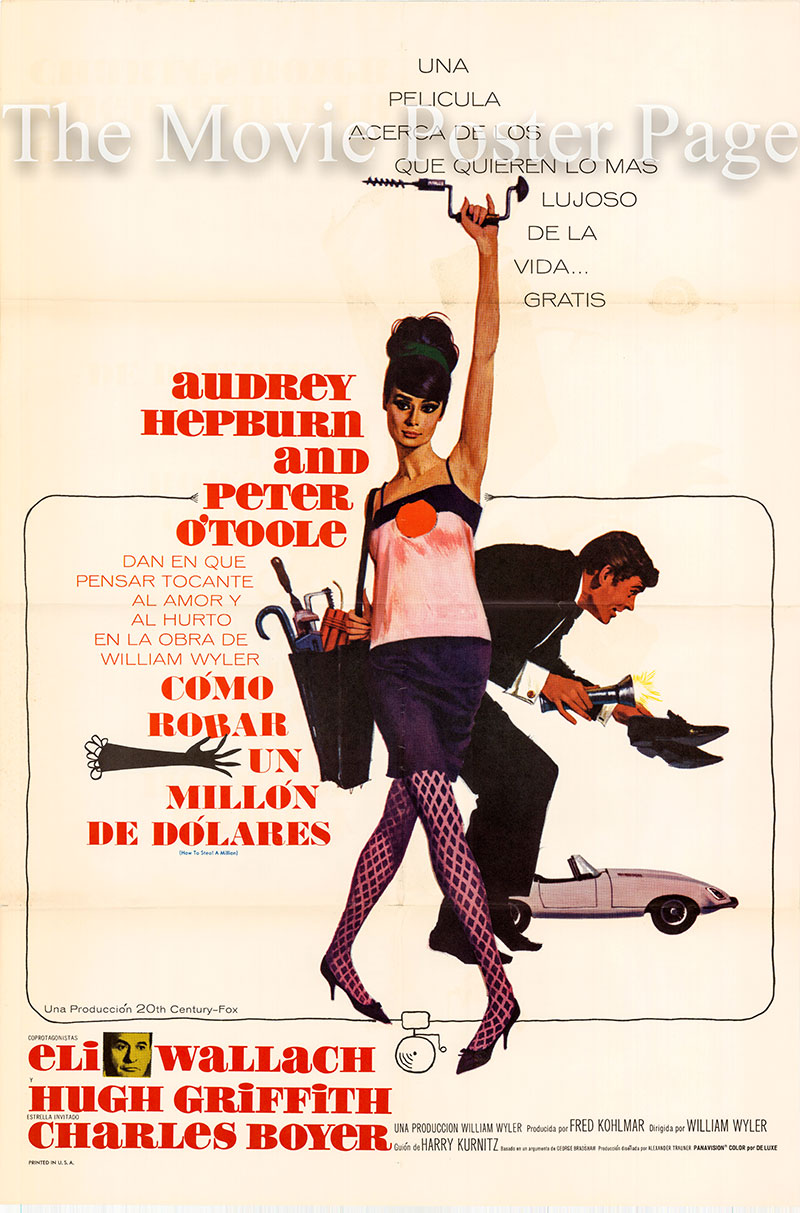 PIctured is a US-made Spanish one-sheet poster for the 1966 William Wyler film How to Steal a Million Starring Audrey Hepburn as Nicole.