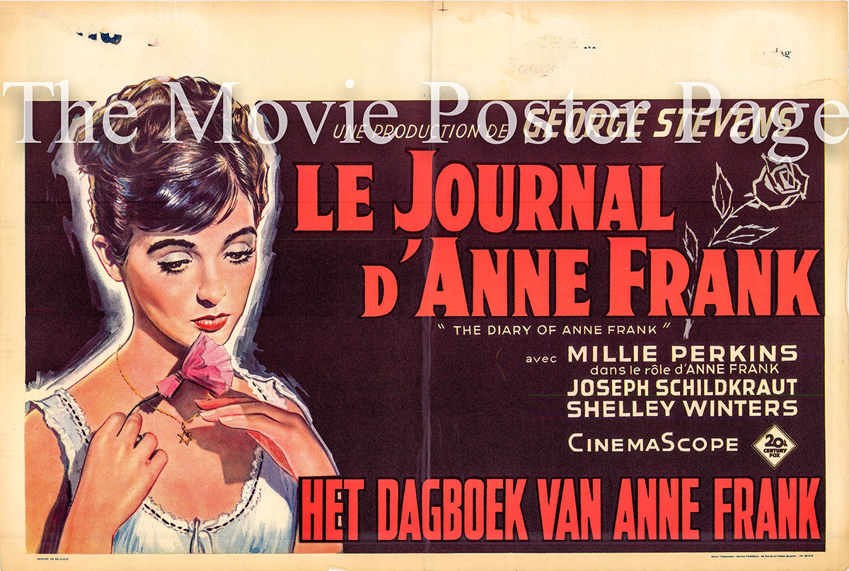 Pictured is a Belgian poster for the 1959 George Stevens film The Diary of Anne Frank starring Millie Perkins as Anne Frank.