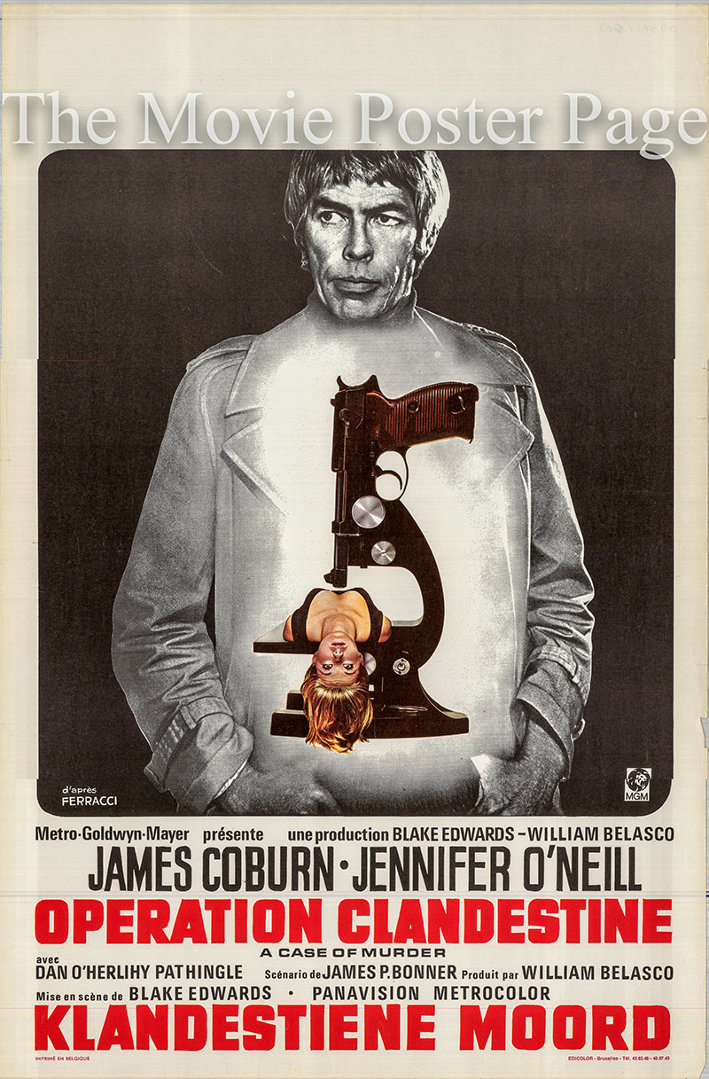 Pictured is a Belgian poster for the 1972 Blake Edwards film The Carey Treatment starring James Coburn as Dr. Peter Carey.