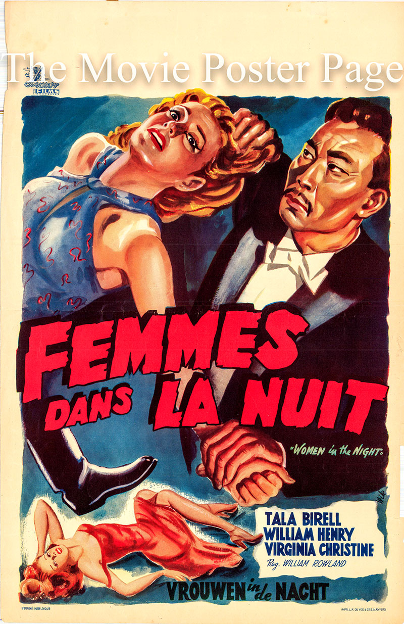 Pictured is a Belgian poster for the 1948 William Rowland film Women in the Night starring Tala Birell as Yvette Aubert.