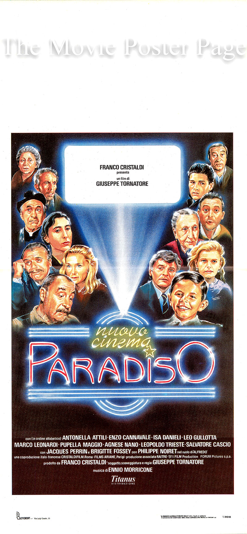 Pictured is an Italian locandina poster for the 1988 Giuseppe Tornatore film Cinema Paradiso starring Jacques Parrin as Salvatore.