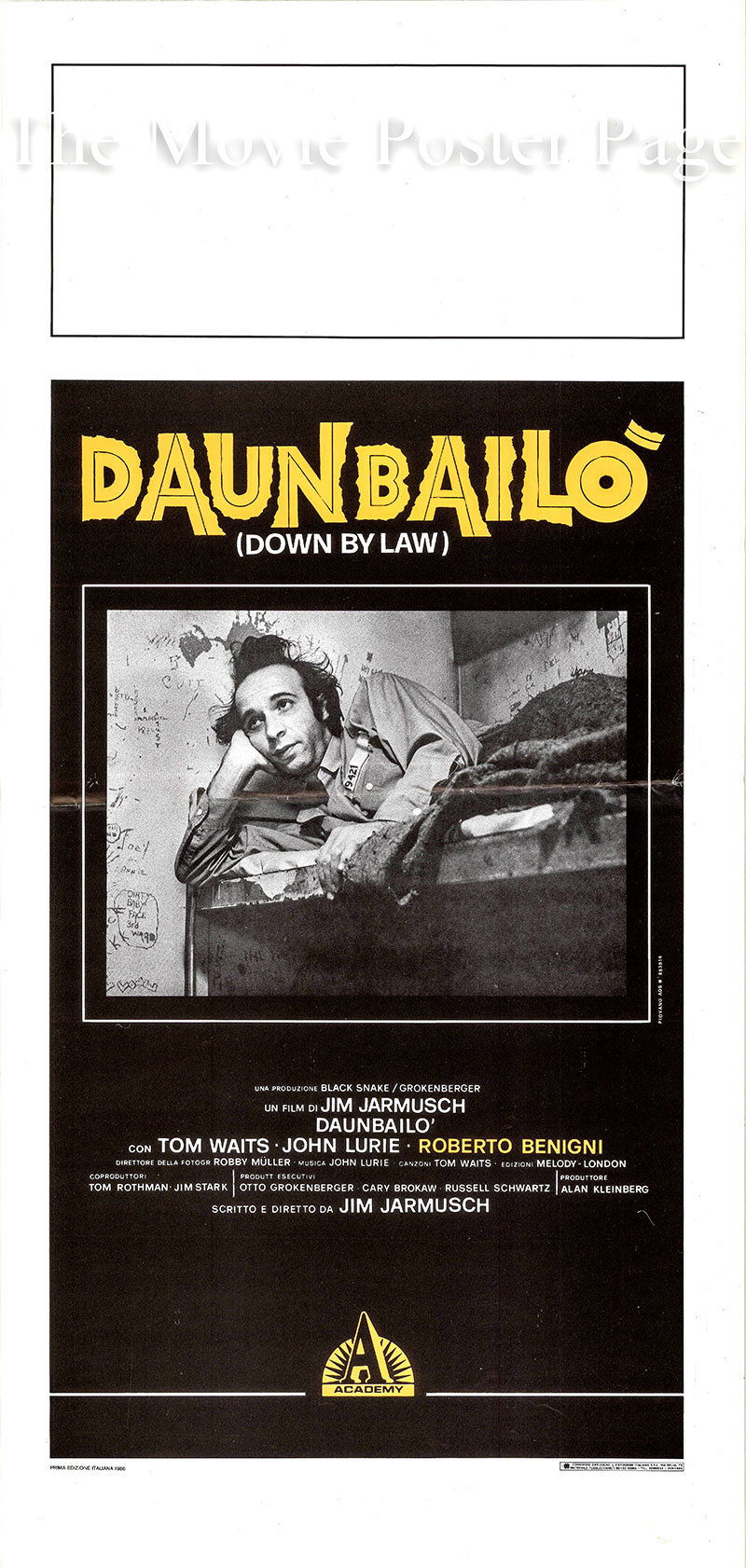 Pictured is an Italian locandina poster for the 1986 film <i>Down by Law</i> written and directed by Jim Jarmusch and starring Tom Waits as Zack.