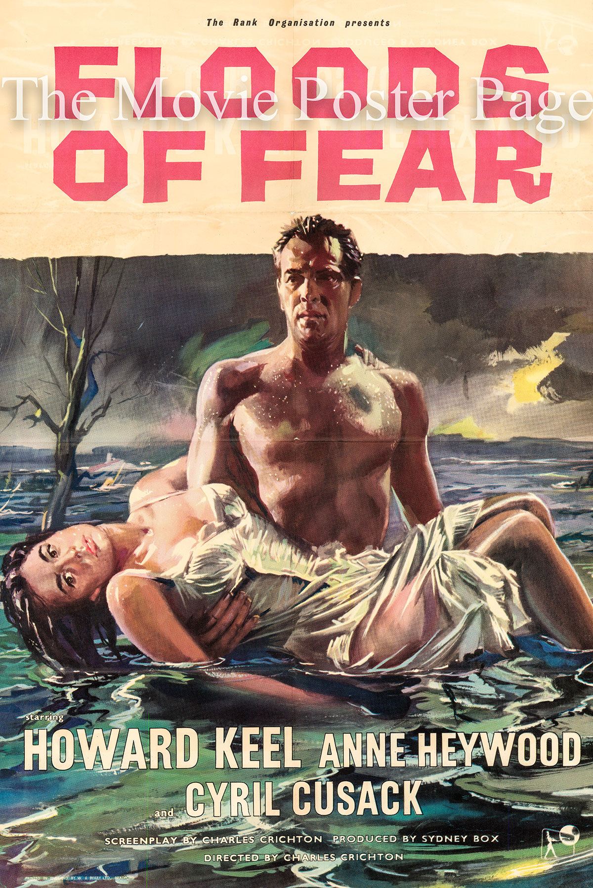 Pictured is a UK one-sheet promotional poster for the 1959 Charles Crichton film Floods of Fear starring Howard Keel.