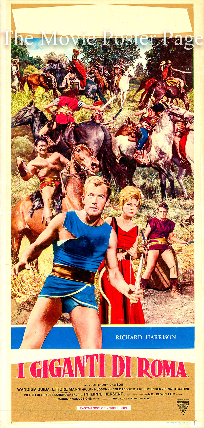 Pictured is an Italian locandina poster for the 1964 Antonio Margheriti film Giants of Rome starring Richard Harrison as Claudius Marcellus.