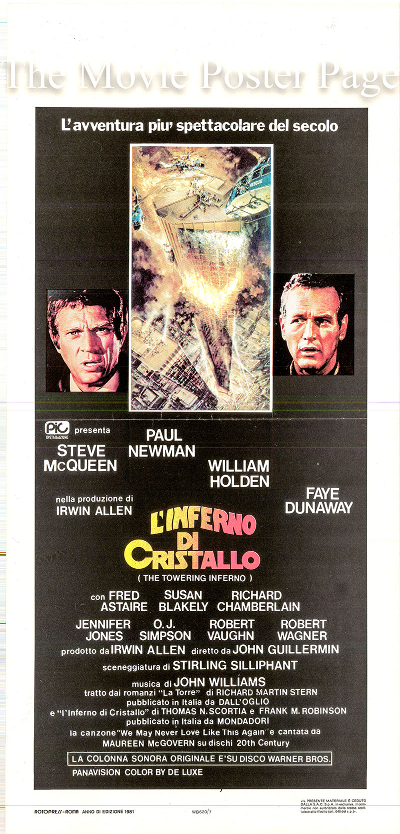 Pictured is an Italian locandina poster for the 1974 John Guillermin film The Towering Inferno starring Steve McQueen as Chief O'Hallorhan.