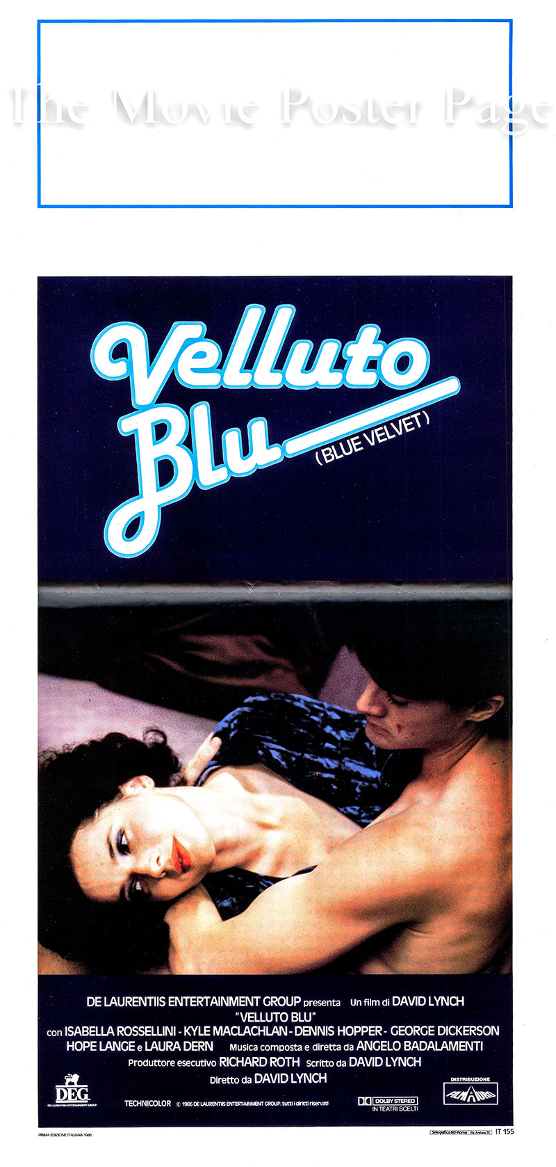 Pictured is an Italian locandina promotional poster for the 1986 David Lynch film Blue Velvet starring Isabella Rossellini as Dorothy Vallens.