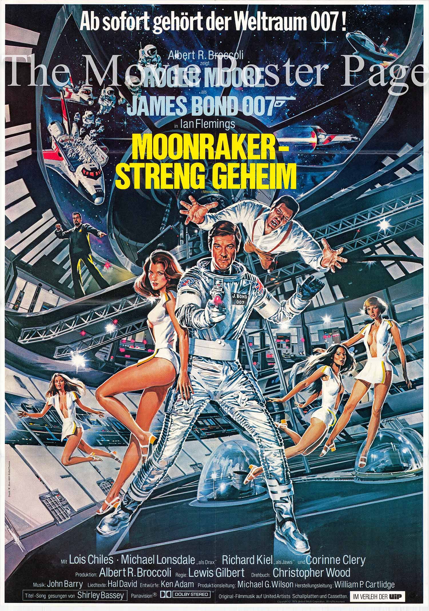 This is a German one-sheet poster made to promote the 1979 Lewis Gilbert film Moonraker starring Roger Moore as James Bond.