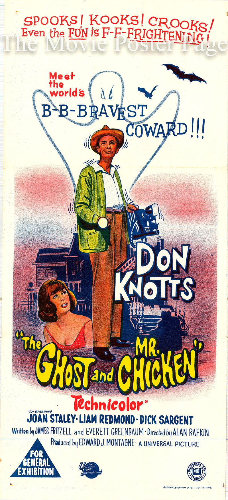 Pictured is an Australian day bill poster for the 1966 Alan Rafkin film <i>The Ghost and Mr. Chicken</i> written by James Fritzell, Everett Grenbaum and Andy Griffith and starring Don Knotts as Luther Heggs.