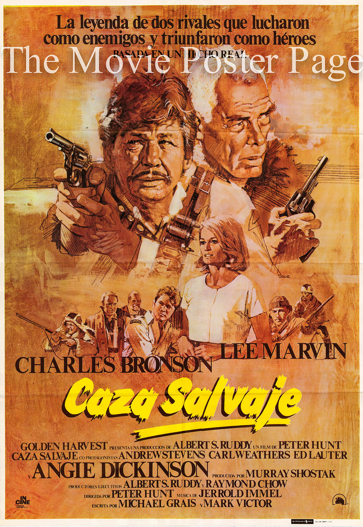 Pictured is a Spanish one-sheet poster for the 1981 Peter R. Hunt film Death Hunt starring Charles Bronson as Albert Johnson.