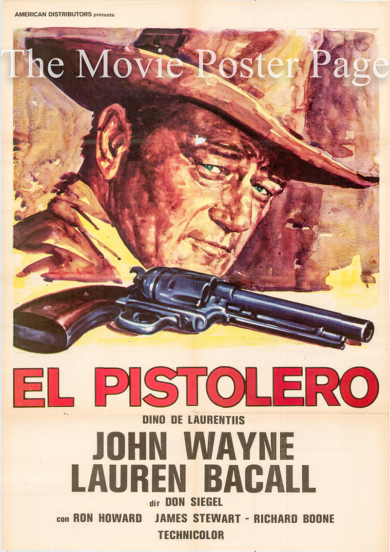 Pictured is a Spanish one-sheet poster for the 1976 Don Siegel film The Shootist starring John Wayne as John Bernard Books.