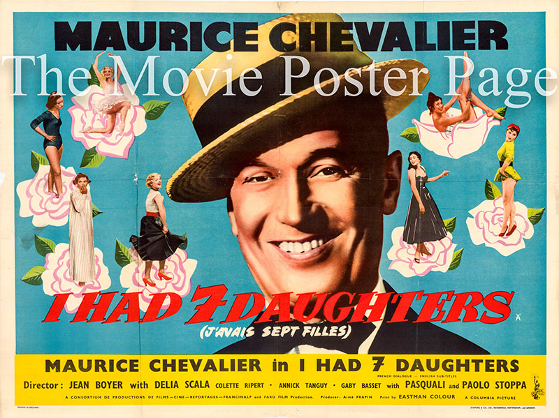 Pictured is a UK quad promotional poster for the 1954 Jean Boyer film I Had Seven Daughters starring Maurice Chevalier.