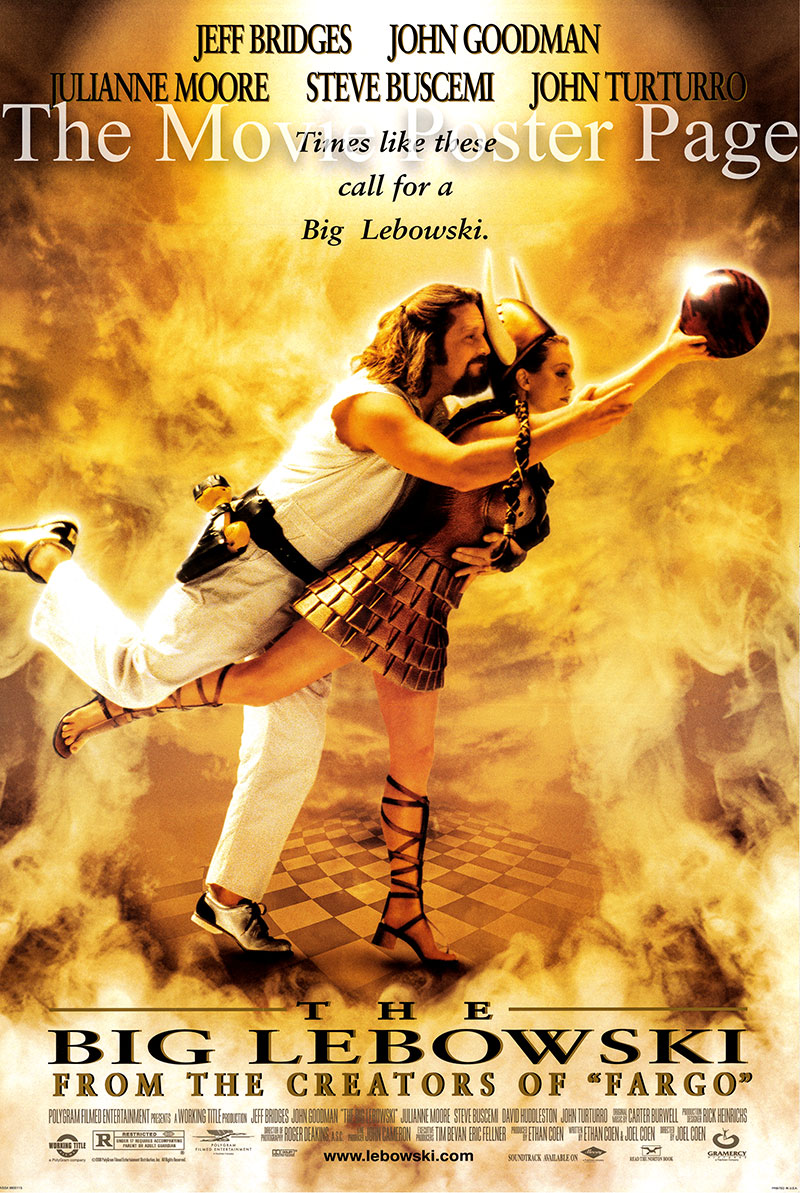 This is a US single-sided poster for the 1998 Cohen Brothers film The Big Lebowski starring Jeff Bridges as The Dude.