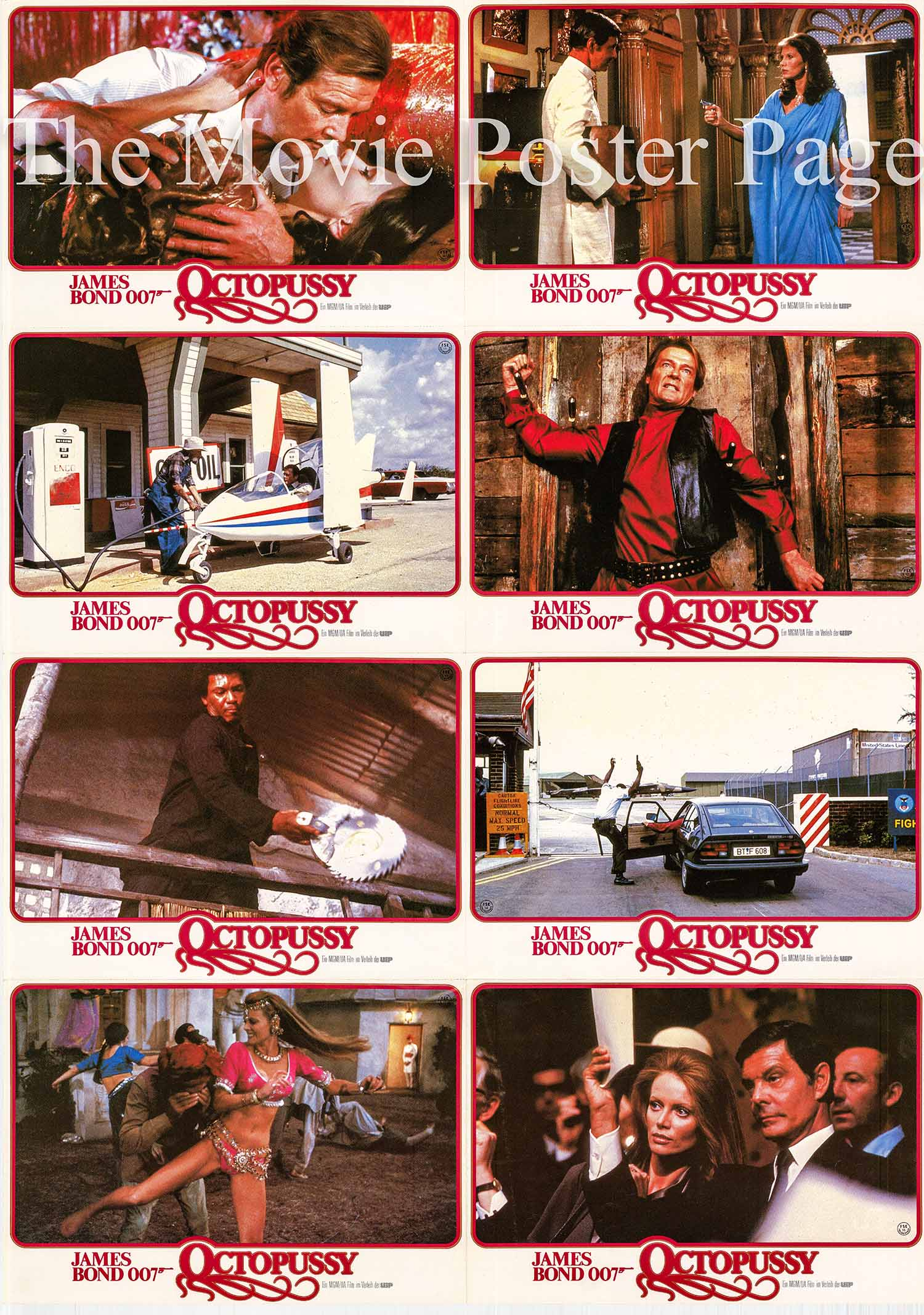 Pictured is a German perforated lobby sheet made to promote the 1983 John Glen film Octopussy starring Roger Moore as James Bond.