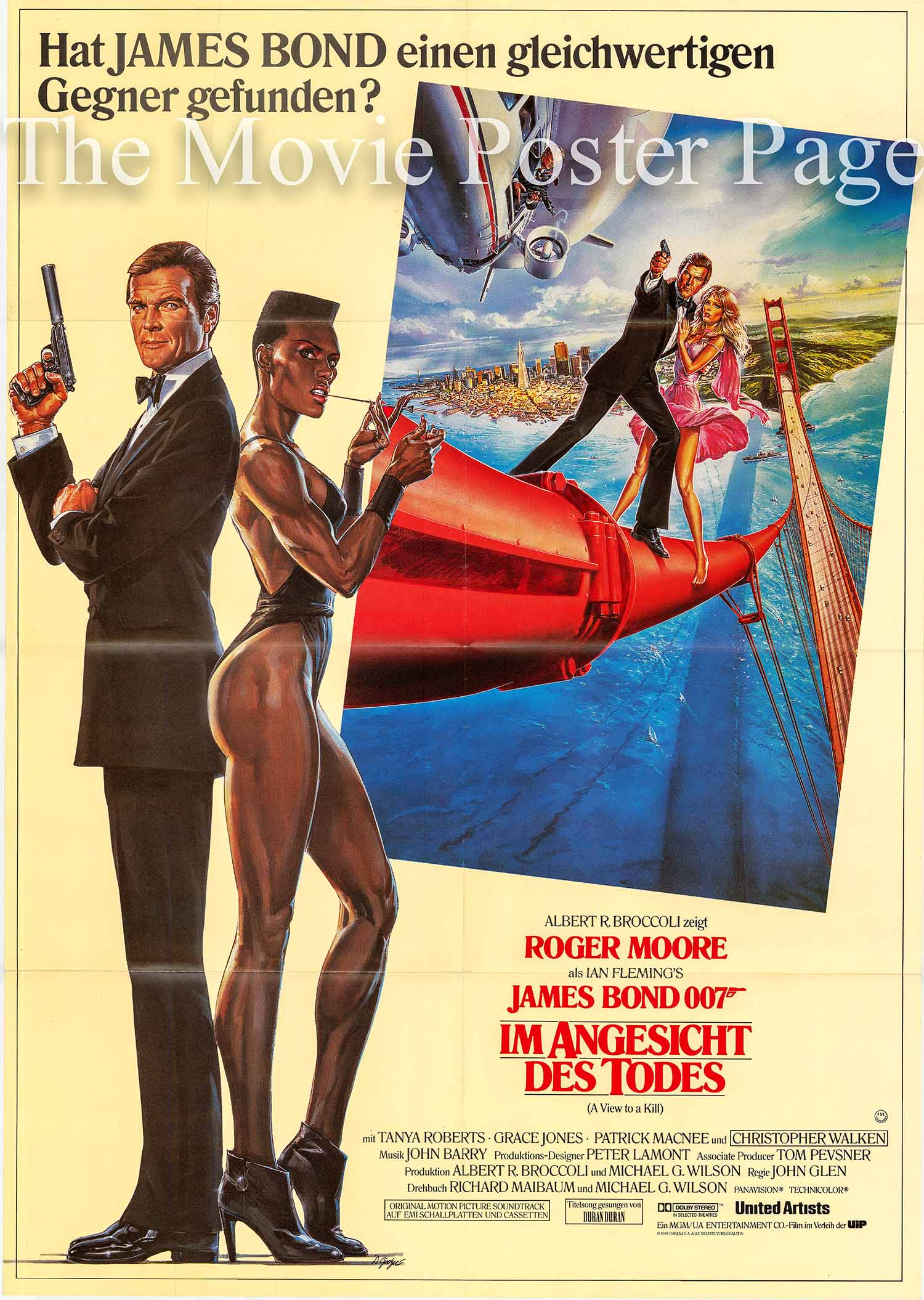 Pictured is a German promotional poster for the 1985 John Glen film A View to a Kill starring Roger Moore as James Bond.