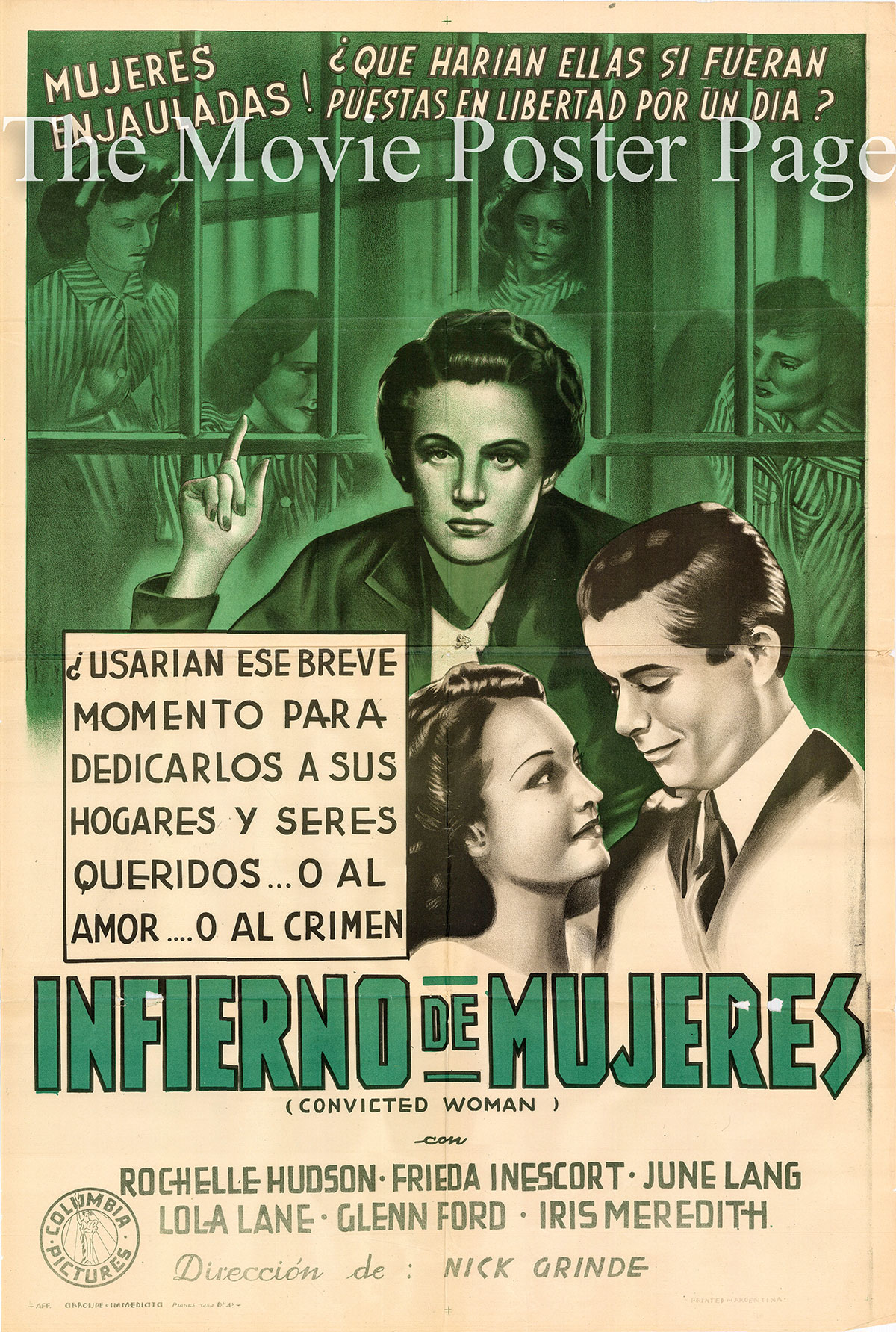 Pictured is an Argentine duotone one-sheet poster for the 1940 Nick Grinde film Convicted Woman starring Rochelle Hudson.