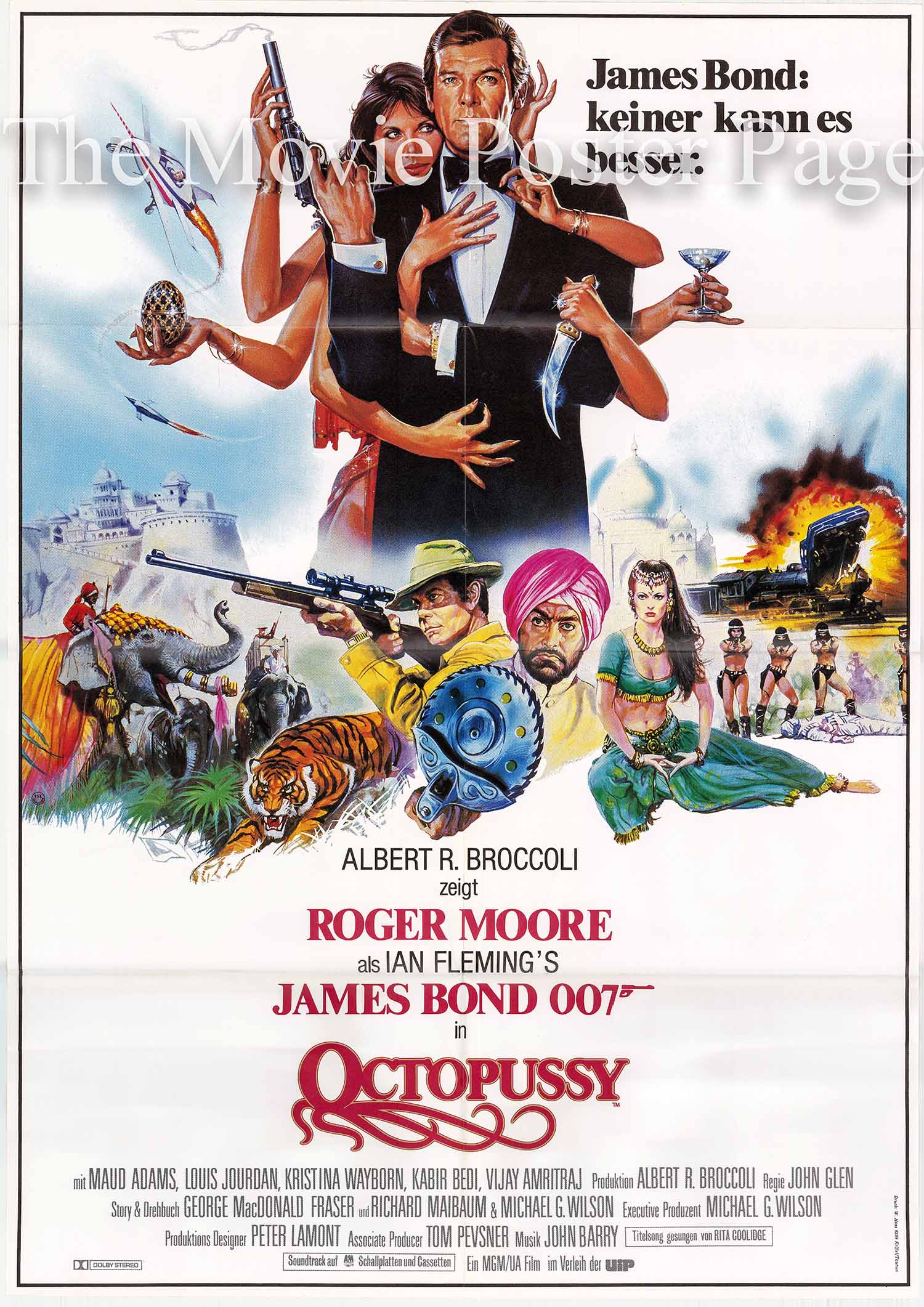 Pictured is a German one-sheet poster made to promote the 1983 John Glen film Octopussy starring Roger Moore as James Bond.