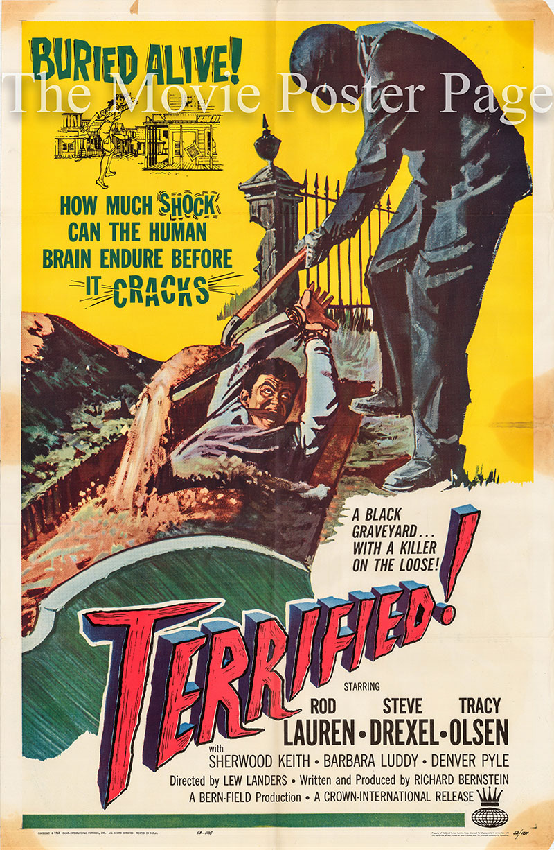 This is a US one-sheet poster for the 1963 Lew Landers film Terrified starring Rod Lauren as Ken Lewis.
