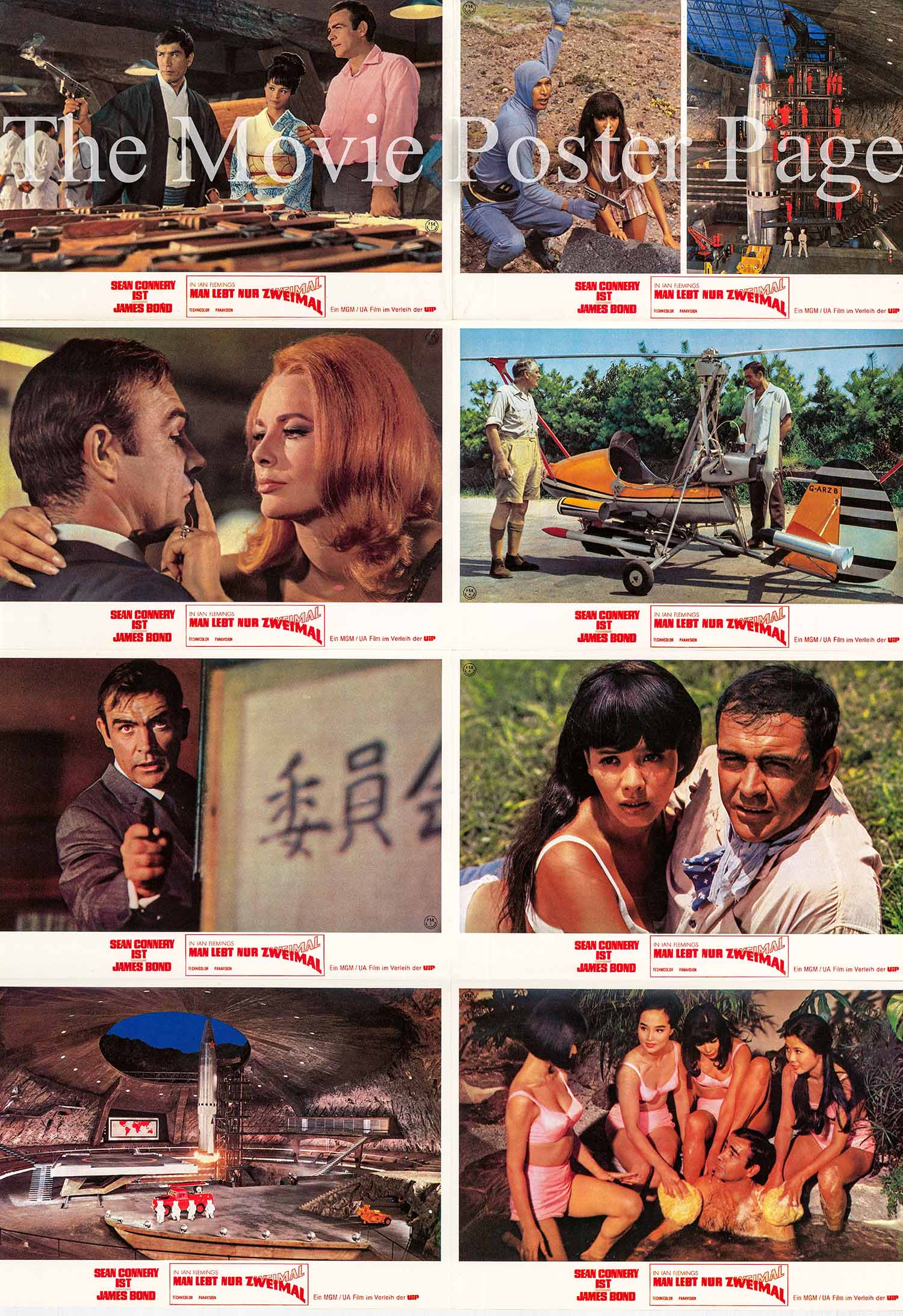 Pictured is a German perforated lobby sheet printed in the 1980s to promote a rerelease of the 1967 Lewis Gilbert film You Only Live Twice starring Sean Connery as James Bond.