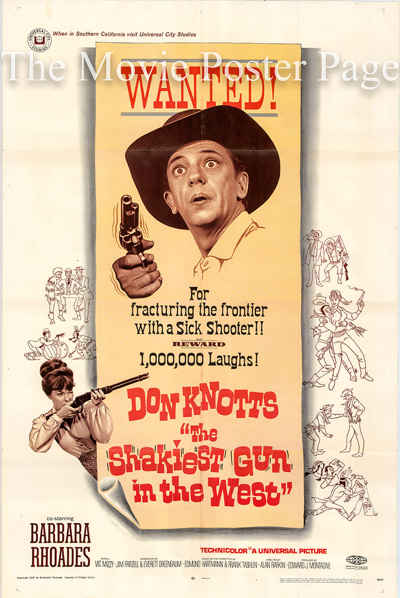 Pictured is a US one-sheet poster for the 1968 Alan Rafkin film The Shakiest Gun in the West starring Don Knotts as Dr. Jesse W. Heywood.