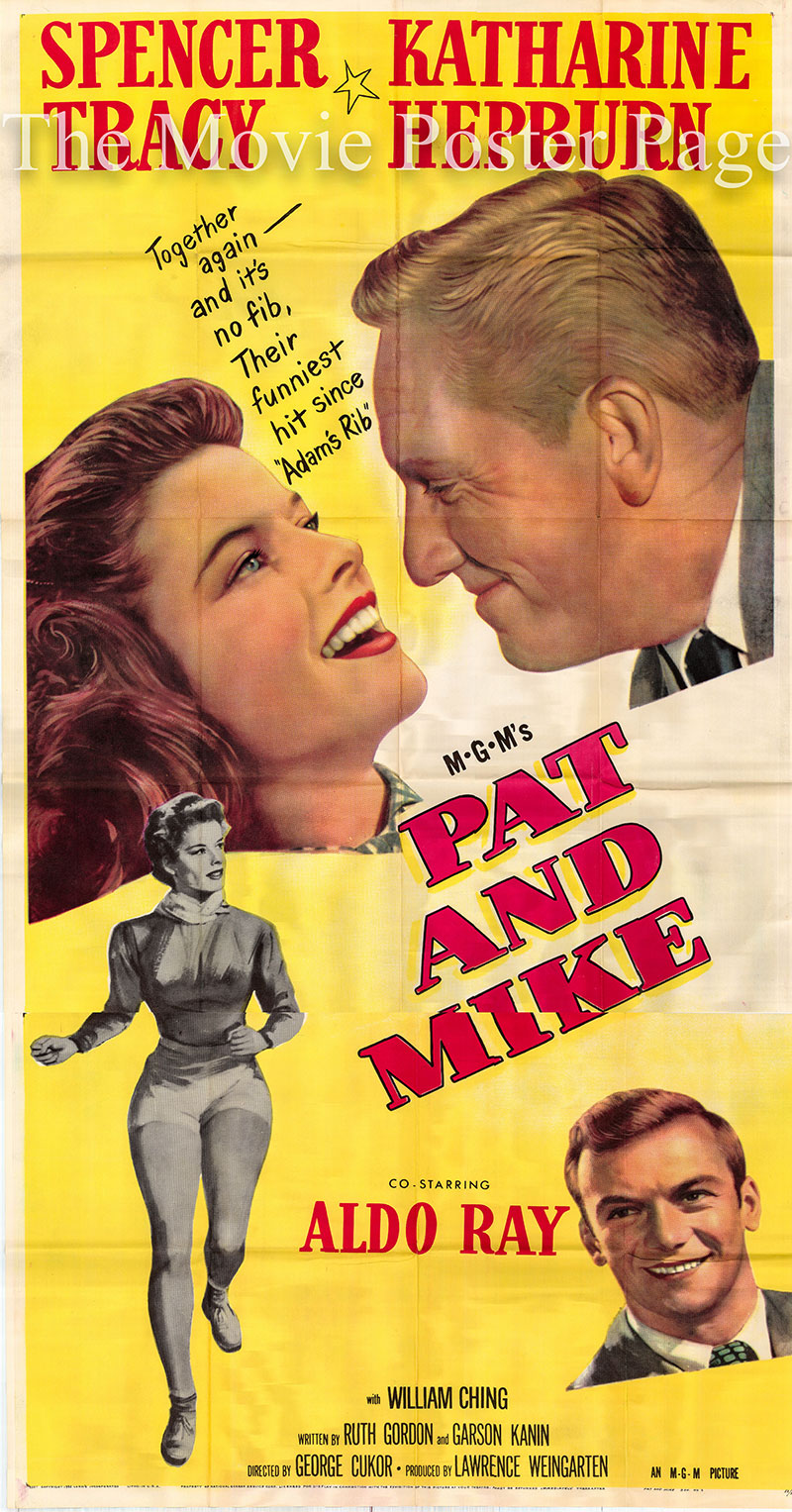 Pictured is a US three-sheet poster for the 1952 George Cukor film Pat and Mike starring Katharine Hepburn as Pat Pemberton.
