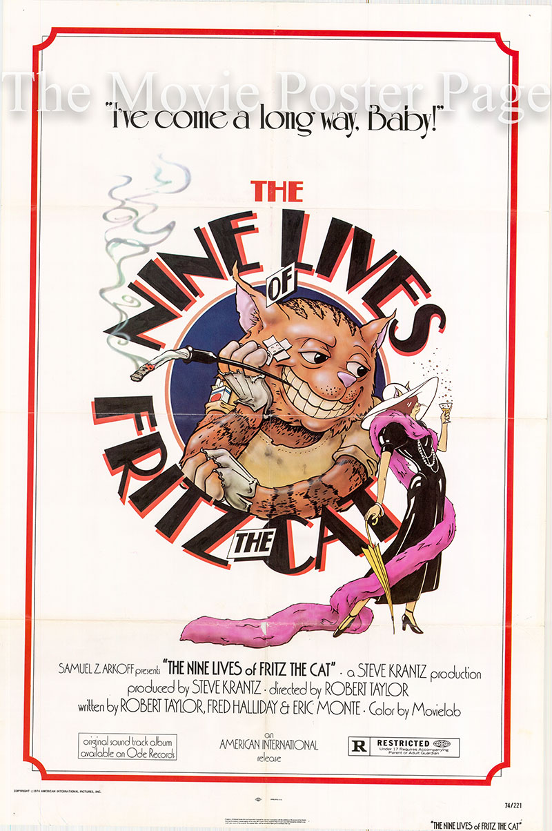 PIctured is a US one-sheet poster for the 1974 Robert Taylor film The Nine Lives of Fritz the Cat starring Skip Hinnant as the voice of Fritz.