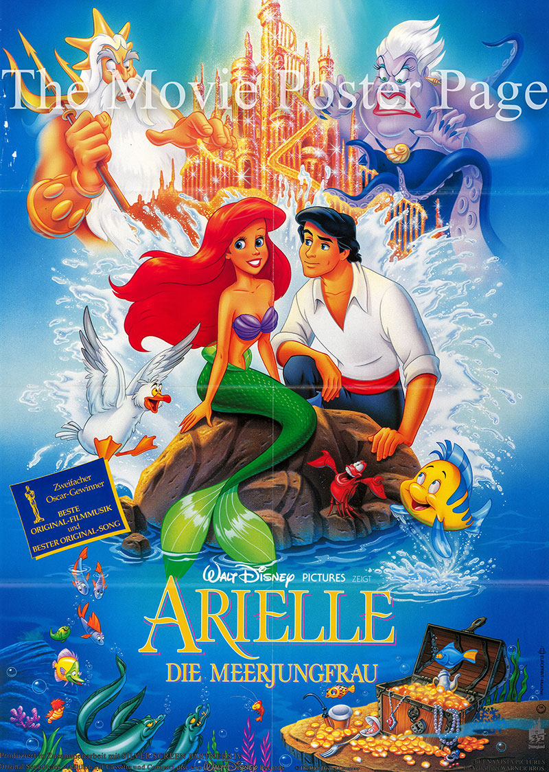Pictured is a German promotional poster for a 1997 rerelase of the 1989 Ron Clements and John Musker film The Little Mermaid starring Jodi Benson as the voice of Ariel.