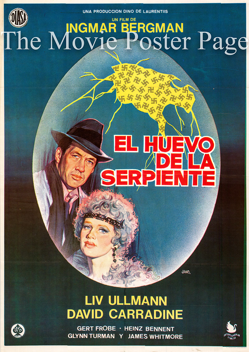 Pictured is a Spanish one-sheet for the 1977 Ingmar Bergman film The Serpent's Egg starring Liv Ullmann as Manuela Rosenberg.
