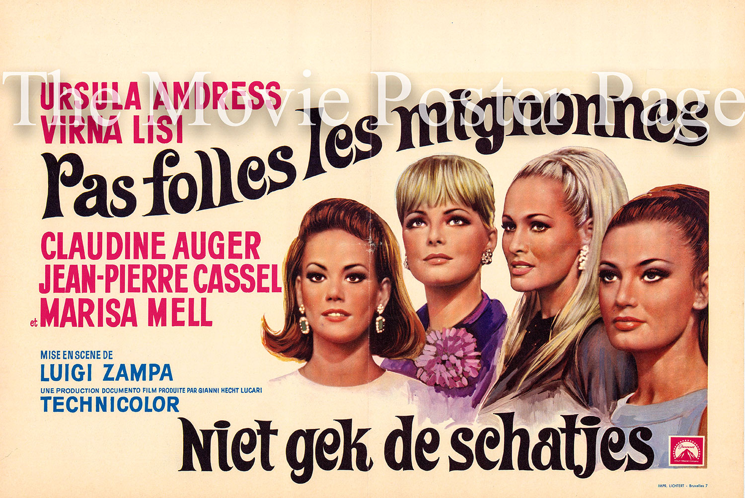 Pictured is a Belgian poster for the 1967 Luigi Zampa film Anyone Can Play starring Ursula Andress.