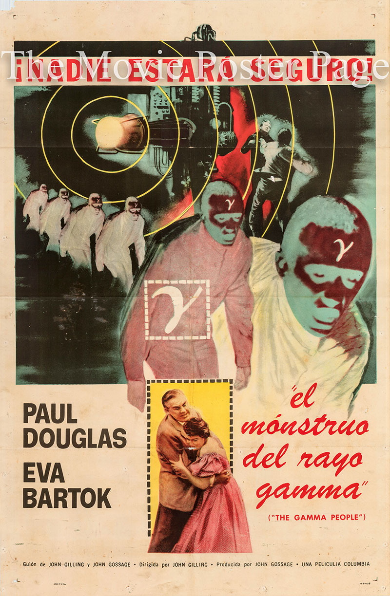 Pictured is a Spanish promotional poster for the 1956 John Gilling film the Gamma People starring Paul Douglas.