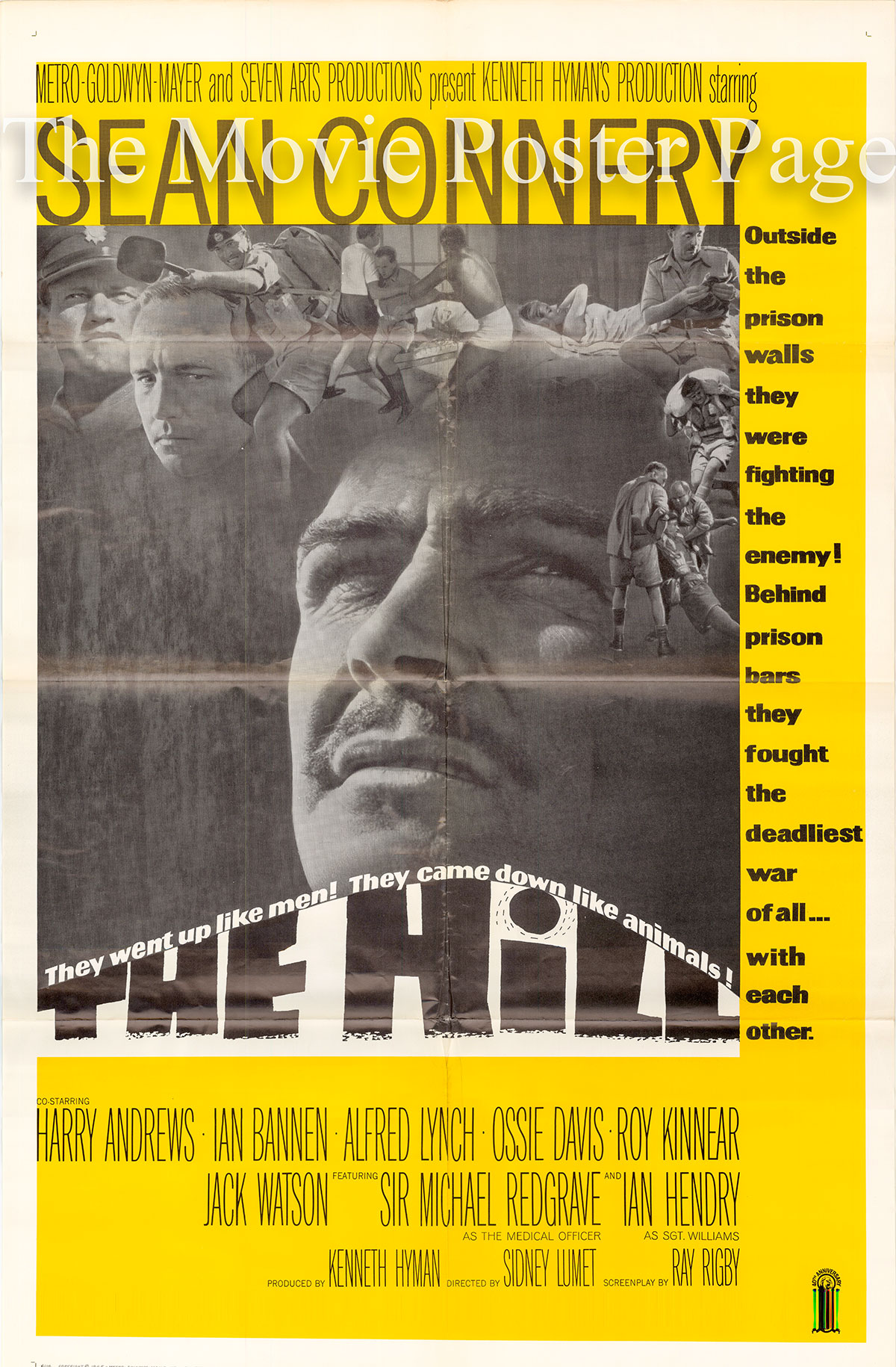 Pictured is a US one-sheet poster for the 1965 Sidney Lumet film The Hill starring Sean Connery.