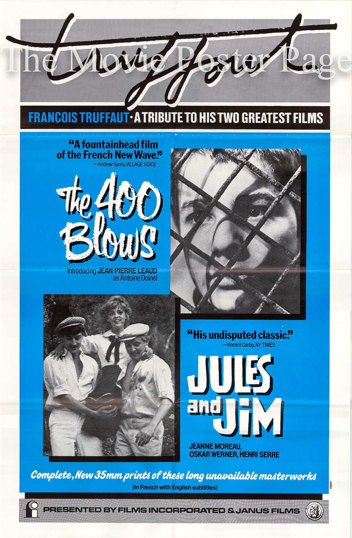 Pictured is a US one-sheet poster for a 1980s release of a Francois Truffaut Film Festival poster for the 400 Blows and Jules and Jim.