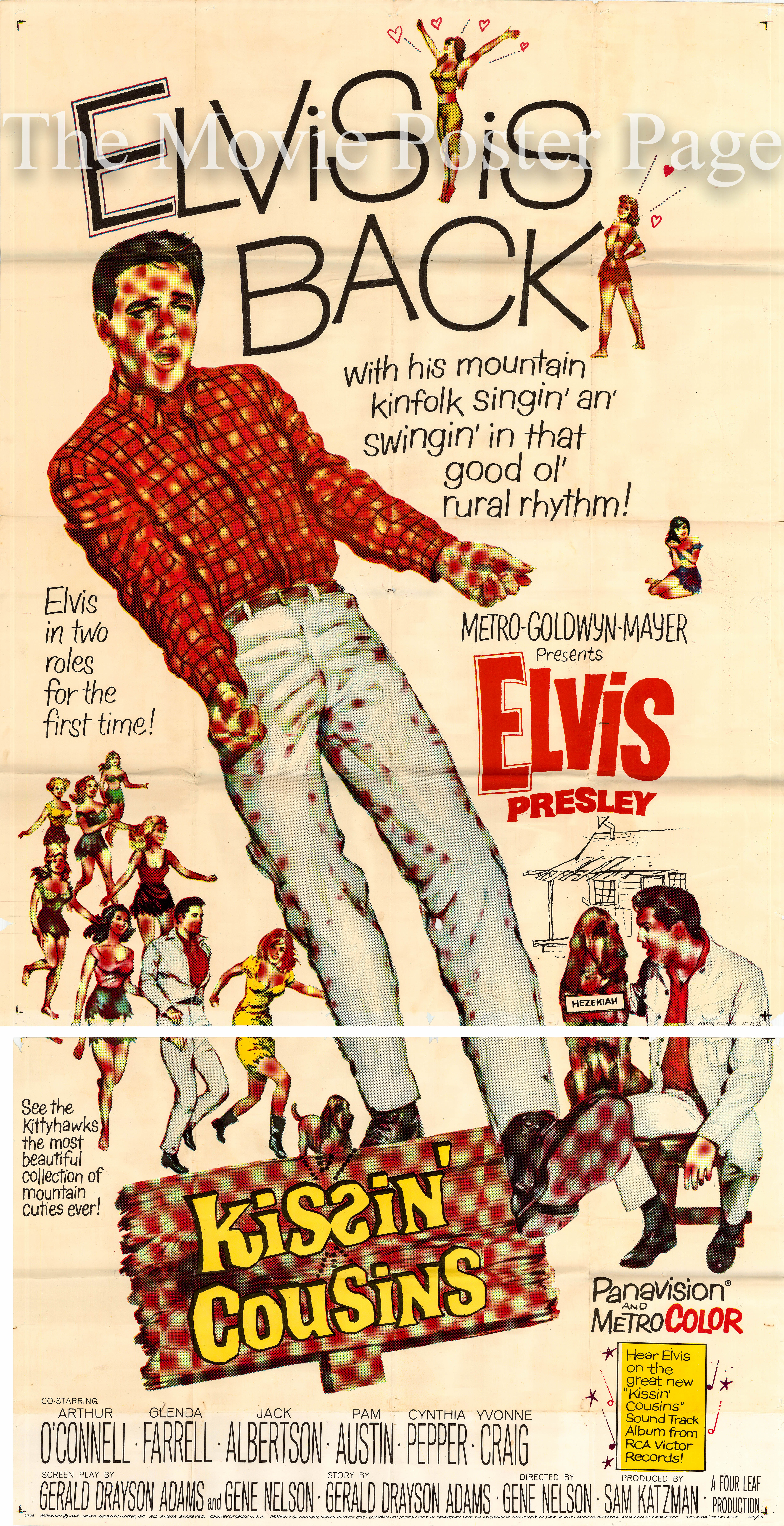 Pictured is a US three-sheet promotional poster for the 1964 Gene Nelson film Kissin' Cousins starring Elvis Presley.