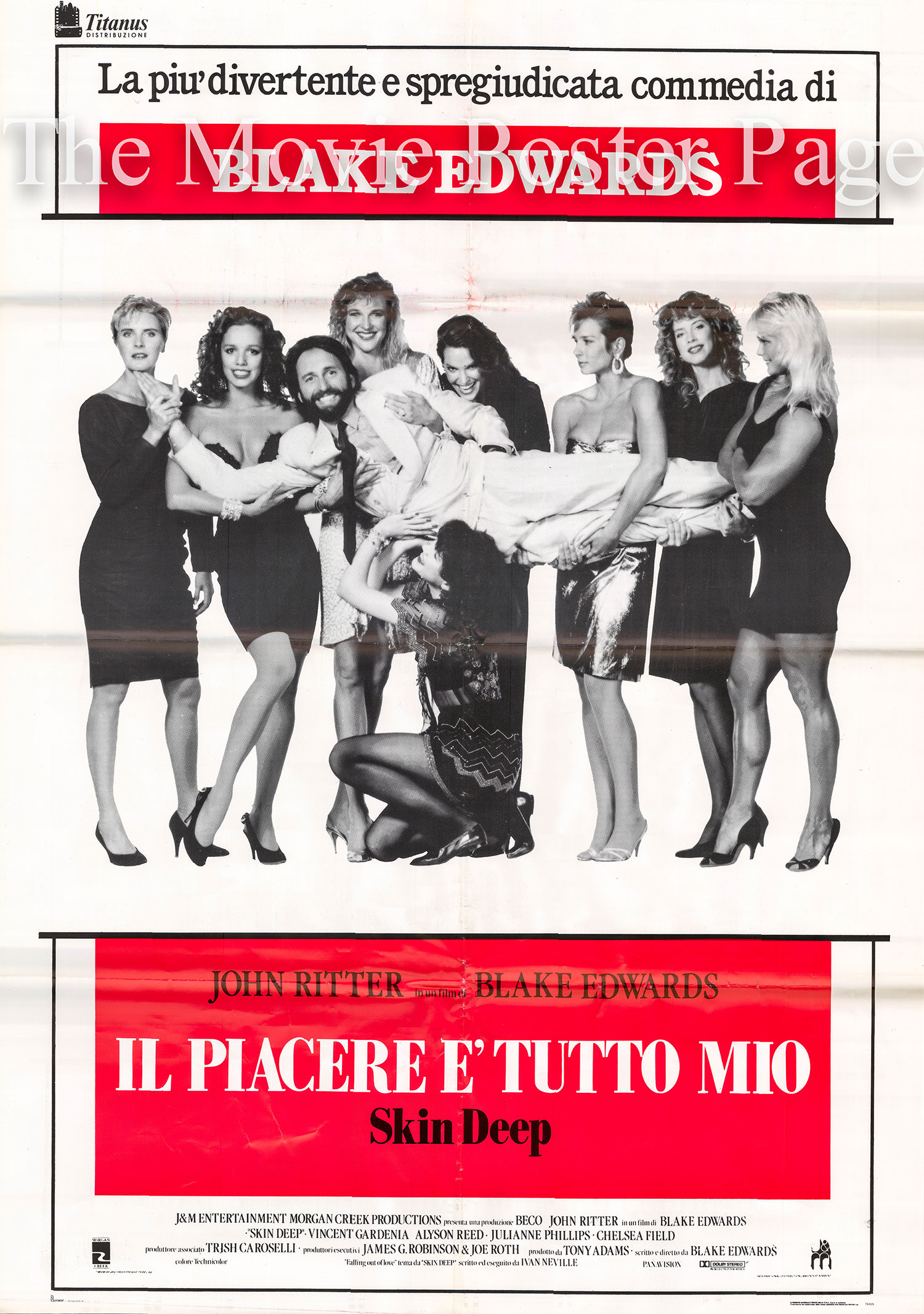 The image is of an Italian two-sheet promotional film poster for the 1989 Blake Edwards film <i>Skin Deep</i> starring John Ritter.
