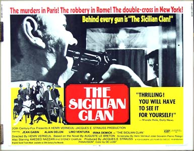 This is a picture of the US half-sheet film poster for the 1970 film <i>The Sicilian Clan</i> starring Jean Gabin and Alain Delon.
