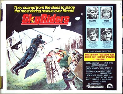The image is of the US half-sheet film poster for the 1976 film <i>Sky Riders</i> starring James Coburn.
